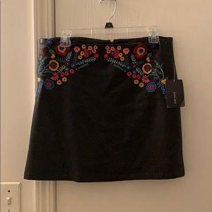 Zara Leather Embroidered Mini Skirt